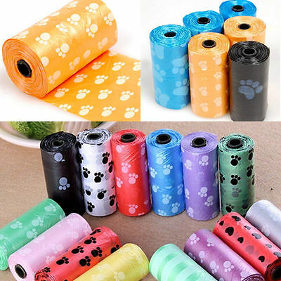 2Rolls/30X Pet Dog Waste Poop Bag Poo Printing Degradable Clean-up Dispenser Pop