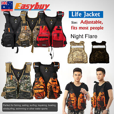 Universal Fishing Life Jacket Kayak Canoe Sailing Swim Buoyancy Aid Vest Whistle