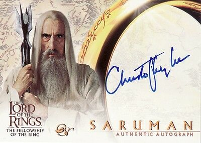 Lord of the Rings Fellowship of the Ring Christopher Lee as Saruman Auto Card