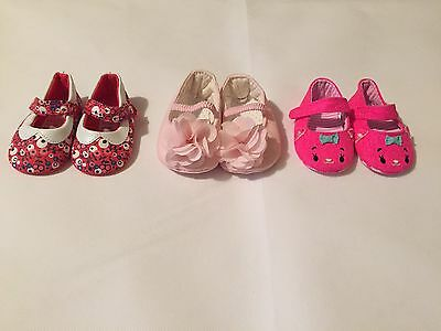 Newborn Baby Girl 0-3 Months X3 Pink And Red Shoes Set Mothercare Mini Club