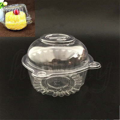 5~100pcs Clear Plastic Single Cupcake Cake Case Muffin Dome Holder cake Boxes