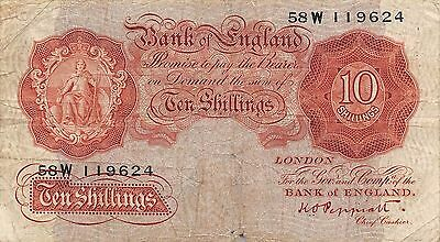 UK  10/-  ND. 1948  P 368a Series 58W  circulated Banknote 2D2