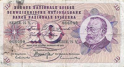 Switzerland 10 Francs 10.2.1971 Series 75 Y  circulated Banknote , E20