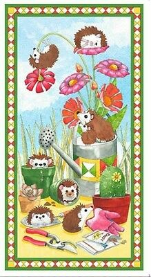 Who Let The Hogs Out Quilt Panel * New * In Stock * Free Post * Hedgehogs Cute *