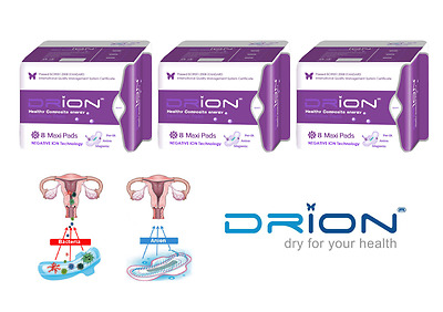 NEW DRION Negative Ion Far Infrared Feminine Menstrual MAXI PADS 3 PACK Exp 2020