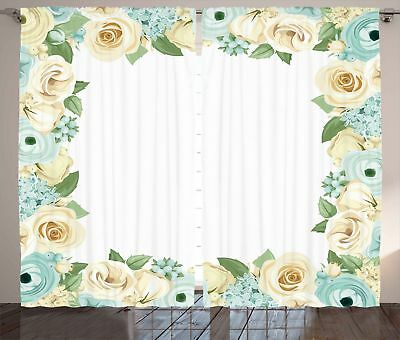 Shabby Chic Curtains Flower Roses Leaves Window Drapes 2 Panel Set 108x84 Inches