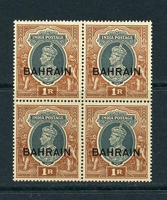 BAHRAIN 1938-41 1r grey and red brown in block of 4 um/MNH. SG 32. Cat £34