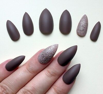 Hand Painted False Nails STILETTO (Or ANY SHAPE) Matte Mocha Brown & Bronze UK