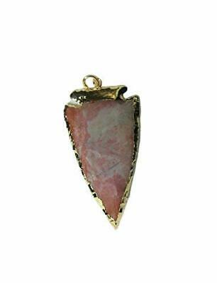 Jet Exquisite Red Jasper Gold Plated Arrowhead Electroplated Flat Pendant Reiki