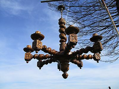 Barley Twist Twisted Wooden Chandelier  carved Wood 8 arm! Lights Antique