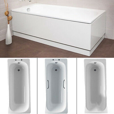 Straight Steel Baths with Legset ; Twin Grips White Enamel ; Durable Bathroom