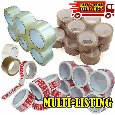 Packing Parcel Tape Brown Clear Fragile Roll Box Sealing 2 4 6 12 48mm x 66M Lot