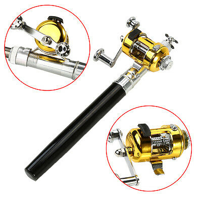 Mini Telescopic Portable Pocket Aluminum Alloy Pen Fishing Rod Pole Reel AM