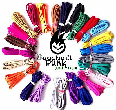 Round Coloured Shoe Laces Chunky Shoelaces Bootlaces 5mm Replacement Dr Martens