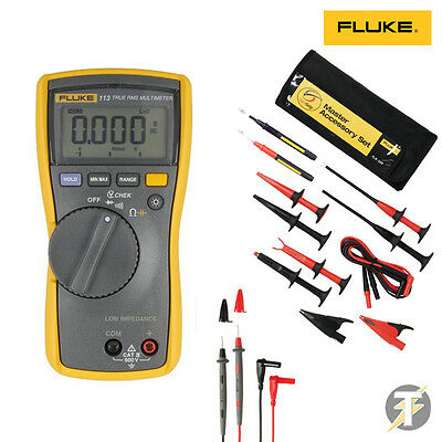 Fluke 113 True RMS Multimeter | TLK-225 Master Accessory Set | Probes and Clips