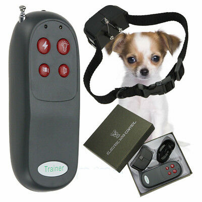 4 In 1 Remote Small/Med Dog Training Shock Vibrate Collar Trainer Safe For Pet M