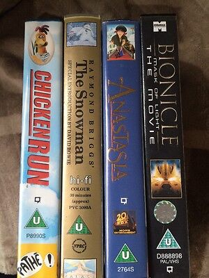 Bundle Of 4 X Childrens Vhs  Excellent Condition The Snowman Chicken Run Look