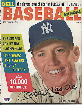 """Mickey Mantle Psa/dna Signed 1957 """"dell Baseball Annual"""" Magazine Autographed"""