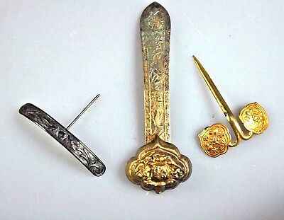 3 Antique Chinese Qing Gilt Silver Lady Hairpin Hair Pin Ornament China 19Th C