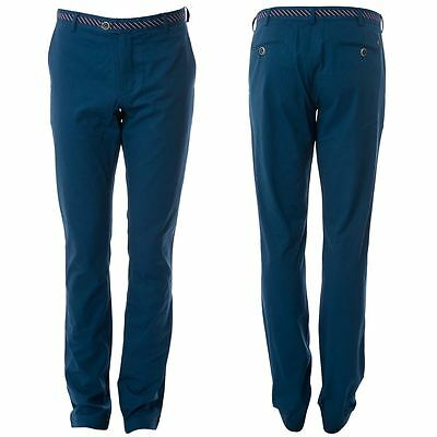 Gabicci Vintage Mens Blue Twill Trousers Long Leg Designer Pants Sizes 32L- 40L