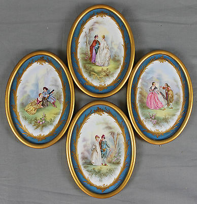 19th Century Fine Set of Four Sevres Figural Hand Painted Plaques