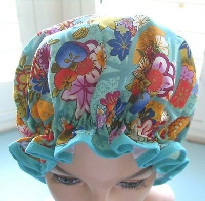 designer SHOWER CAP  for MOTHERS DAY aqua tones floral water proof