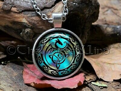 Celtic Knot Viking Dragon Necklace Pendant Trinity Triquetra Rune Silver Asatru