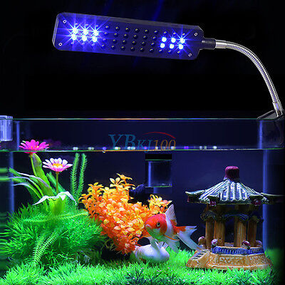 48 LED Aquarium Light Flexible Arm Clip on Plant Grow Fish Tank White Blue Lamp