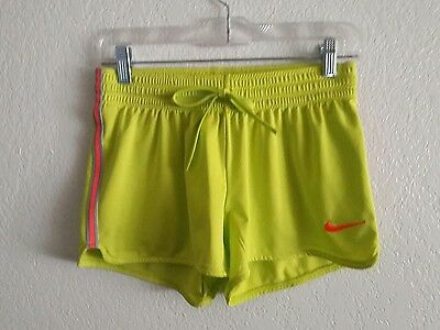 Women's Nike Dri Fit Athletic Running Shorts Size XS Neon Yellow and Pink. T9