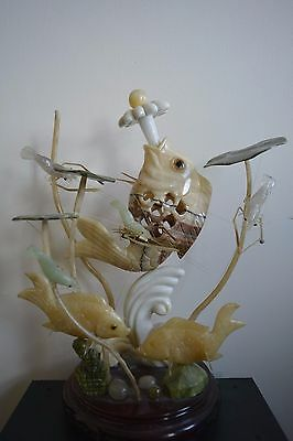Carved Stone Chinese Sculpture Koi Fish and Prawns