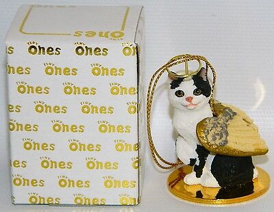 "Manx Black & White Cat Figurine Ornament Angel 2"" Miniature Figure Tiny Ones"