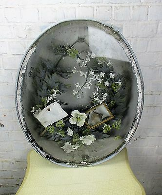 French Antique Victorian Mourning Box with Wreath 1800 Memorial Zinc Immortelle