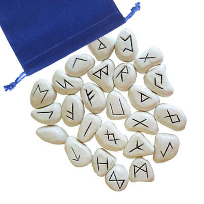White Resin Rune Set NEW Norse Runes 25 pc Elder Futhark Tiles with Pouch Bag
