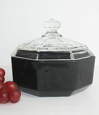Vintage Arcoroc France Sugar Bowl Black Octagonal Clear Glass Lid Octime RARE