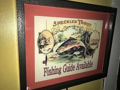 Speckled Trout Fishing Guide Bait Shop Man Cave Lighted Advertising Sign