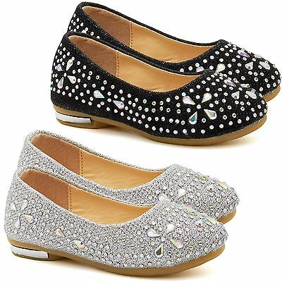 Girls Childrens Diamante Bridesmaid Shoes Kids Flats Party Pumps Ballet Size UK