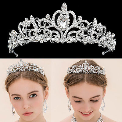 Wedding Bridal Princess Crystal Rhinestone Prom Hair Tiara Crown Headband UK
