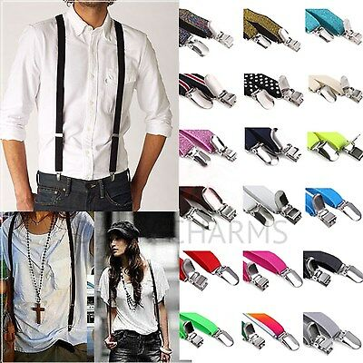 Mens Unisex Skinny Suspenders Adjustable Thin Slim Clip-on Womens Fashion Braces