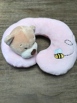 Girls Pink Plush Baby Neck Pillow, Infant Toddler, Car Seat Head Support