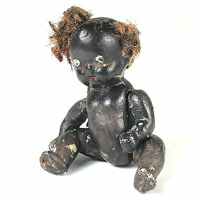 "Antique Black Bisque Jointed 2.5"" Baby Doll Made in Japan African American"