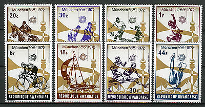 Rwanda 1972 MNH Summer Olympics Munich 8v Set Hockey Football Sailing Stamps