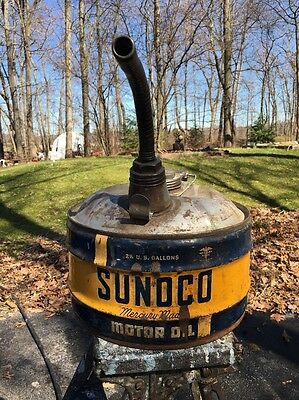 Vintage 2.5 gal. SUNOCO MOTOR OIL CAN Mercury Made GAS STATION Rare! WOW!
