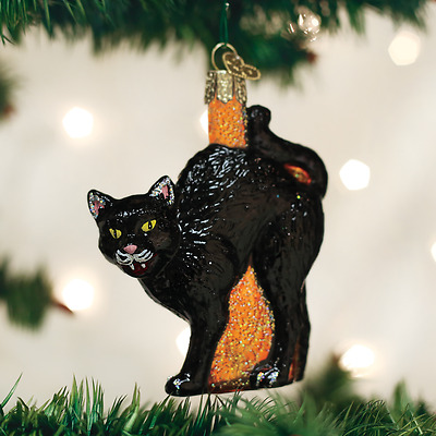 26080 Scaredy Black Cat Old World Christmas Glass Ornament Halloween Arched Back