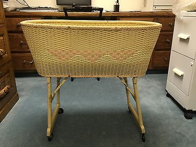 Antique/Vintage 1940's Light Yellow Victorian Style Wicker Baby Bassinet Crib