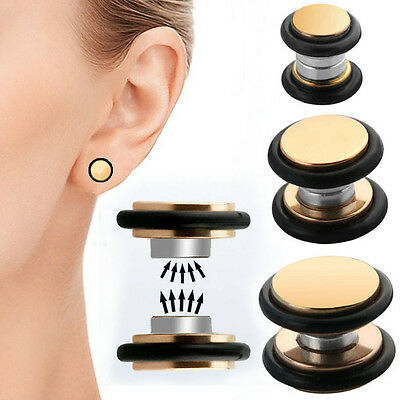 Pair Rosegold Fake Cheater Piercing Illusion Magnetic Studs Ear Plugs 2G-00G Set