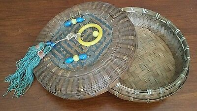 Antique Wicker Chinese Sewing Basket Signed Blue Yellow Glass Beaded Glass Ring