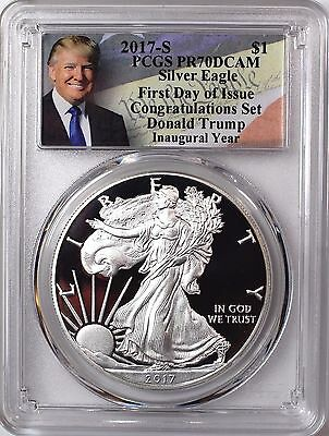2017 S Proof Silver Eagle PCGS PR70 DCAM First Day of Issue Trump Inaugural Year