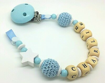 Baby boy wooden  dummy Clip (baby blue and white)  / Baby gift