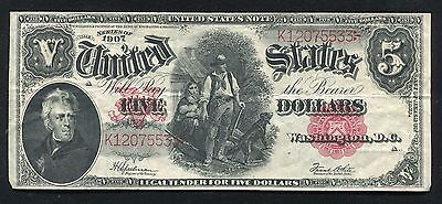 """Fr. 91 1907 $5 Five Dollars """"Woodchopper"""" Legal Tender United States Note Vf+"""