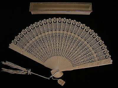 "ANTIQUE JAPANESE HAND FAN ~ original tag reads ""made in Hong Kong"" ~ 7""h"